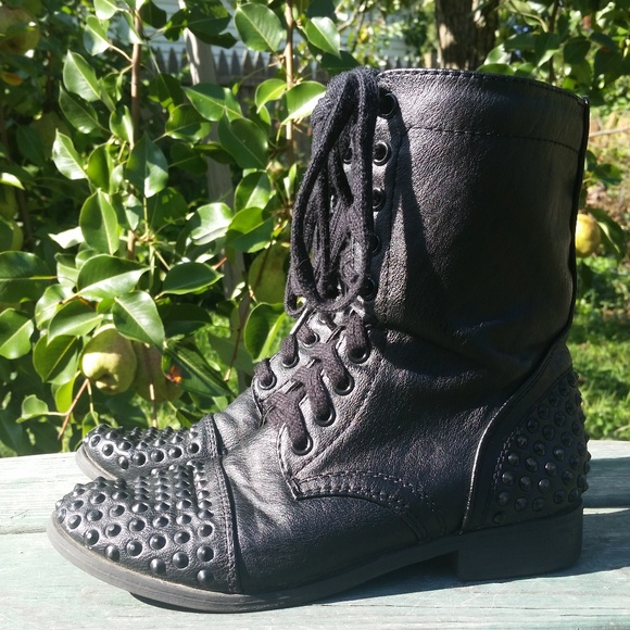 c8fd8de7bbc10c BONGO Shoes | Black Studded Combat Boots Guc | Poshmark